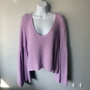 Violet Free People Bell Sleeve Sweater